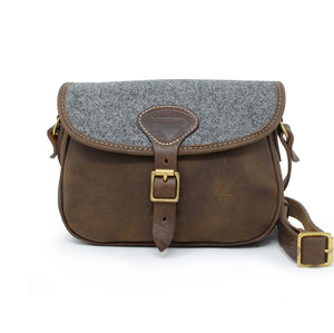 Rosalind Saddle Bag - Dark Grey Large Herringbone Tweed