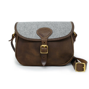 Rosalind Saddle Bag - Light Grey Large Herringbone Tweed
