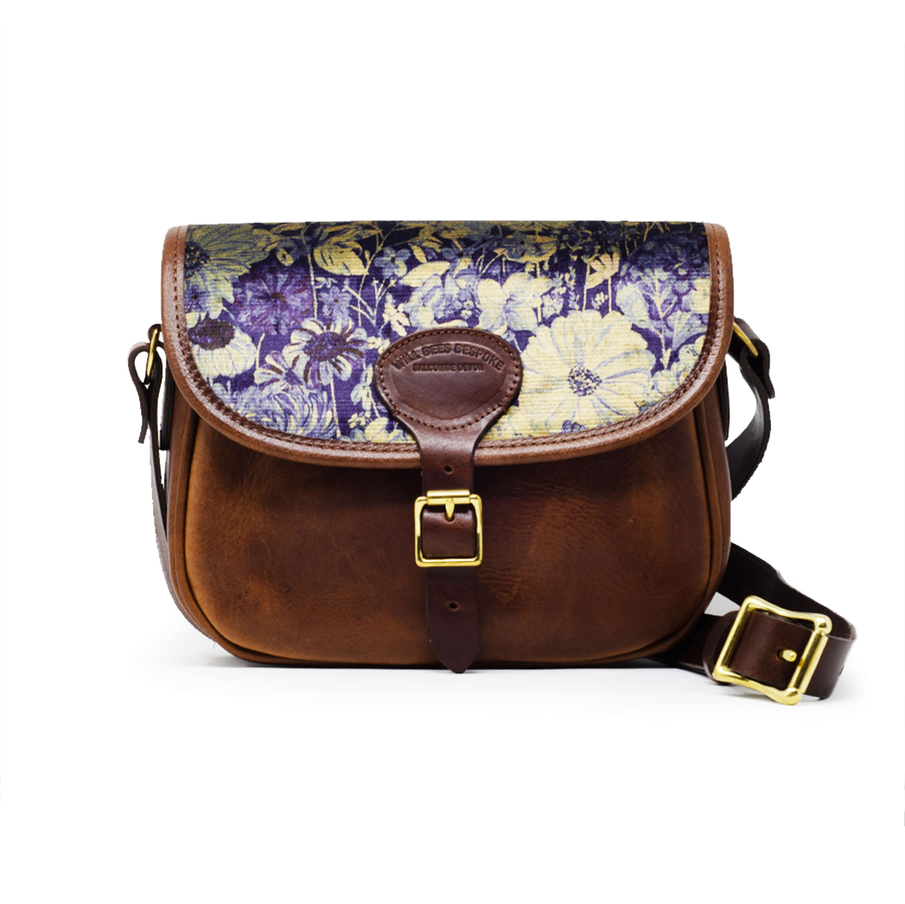 Rosalind Saddle Bag - Botanical Garden in Blue Sky - Will Bees Bespoke