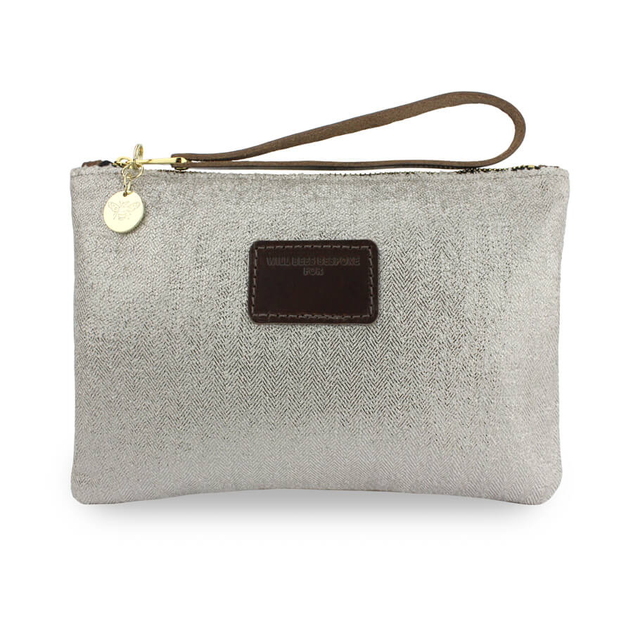 Frances Clutch - Silver Herringbone Sparkle - Will Bees Bespoke