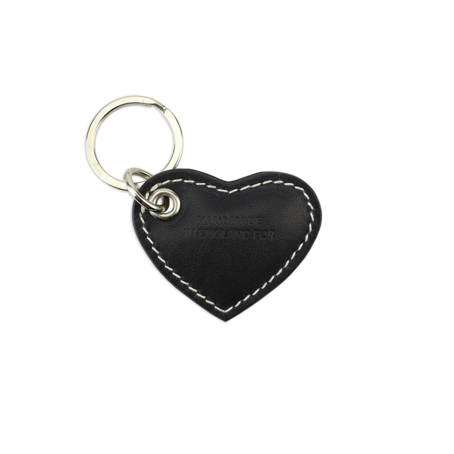 Small Leather Heart Keyring - Black - Will Bees Bespoke