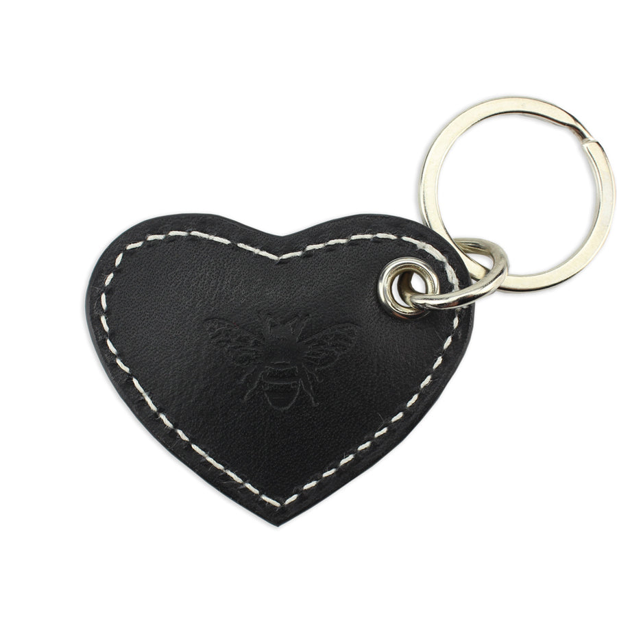Small Leather Heart Keyring - Black