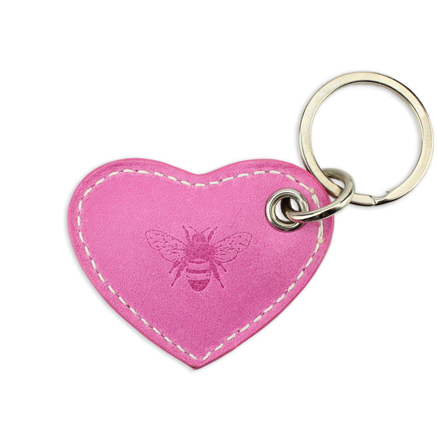 Small Leather Heart Keyring - Pink - Will Bees Bespoke