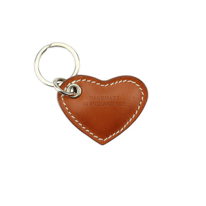 Small Leather Heart Keyring - Tan