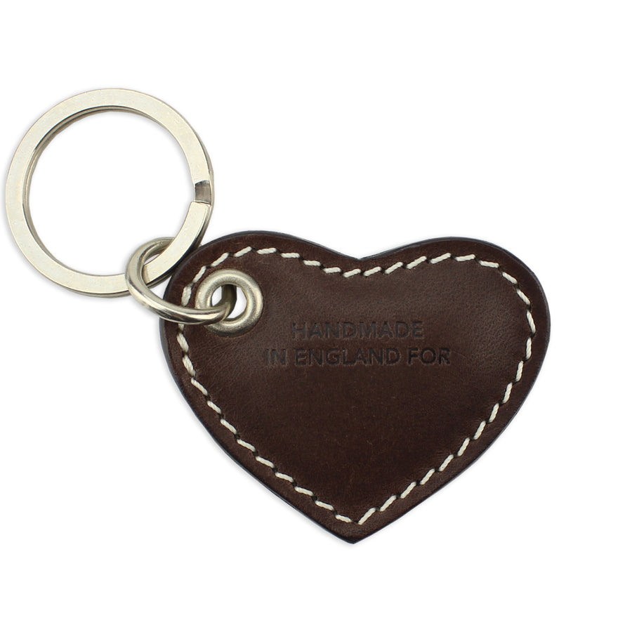 Small Leather Heart Keyring - Brown - Will Bees Bespoke