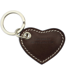 Small Leather Heart Keyring - Brown