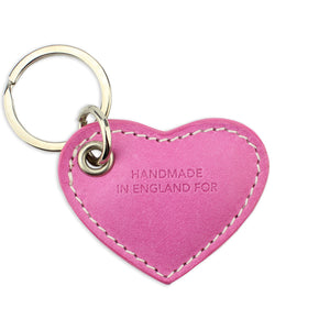 Small Leather Heart Keyring - Pink