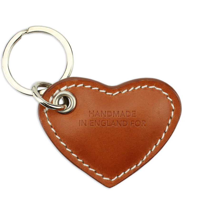 Small Leather Heart Keyring - Tan - Will Bees Bespoke
