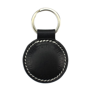 Small Leather Round Keyring - Black
