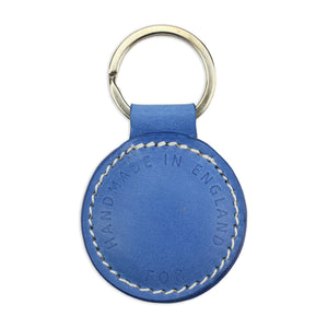 Small Leather Round Keyring - Blue