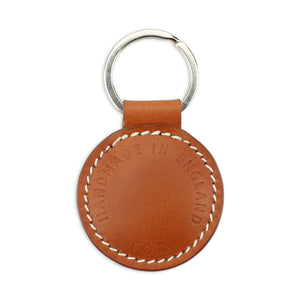 Small Leather Round Keyring - Tan