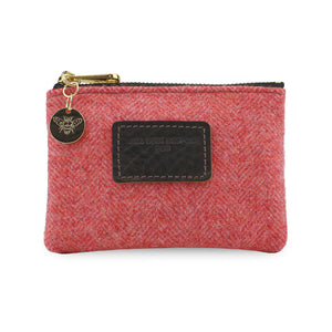 Jane Coin Purse - Coral Tweed Herringbone