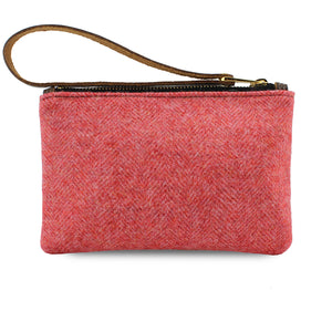 Ada Mini Clutch - Coral Herringbone Tweed