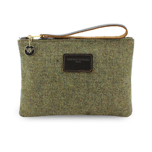 Frances Clutch - Green Herringbone Tweed