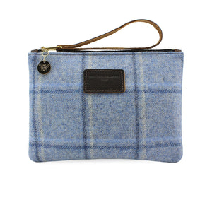 Frances Clutch - Blue Tweed Check