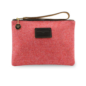 Frances Clutch - Coral Herringbone Tweed