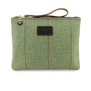 Charlotte Oversized Clutch - Green Tweed Check