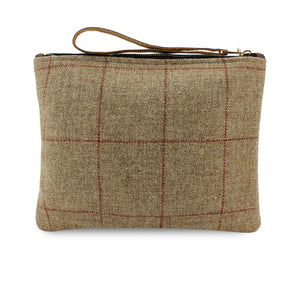 Charlotte Oversized Clutch - Brown Tweed Check