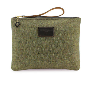 Charlotte Oversized Clutch - Green Herringbone Tweed