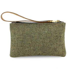 Ada Mini Clutch - Green Tweed Herringbone