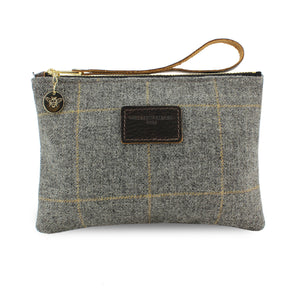Frances Clutch - Grey Tweed Check