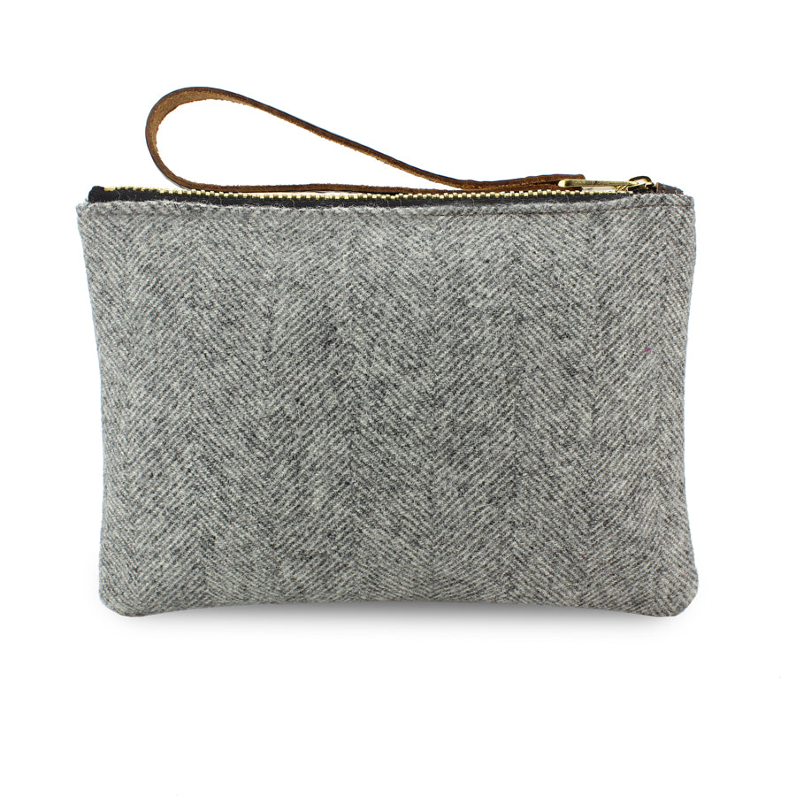 Frances Clutch - Grey Herringbone Tweed - Will Bees Bespoke