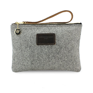 Frances Clutch - Grey Herringbone Tweed