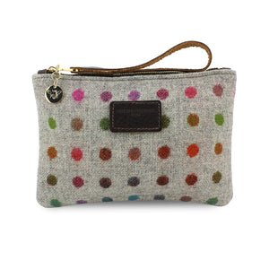 Frances Clutch - Multicoloured Polkadot Tweed