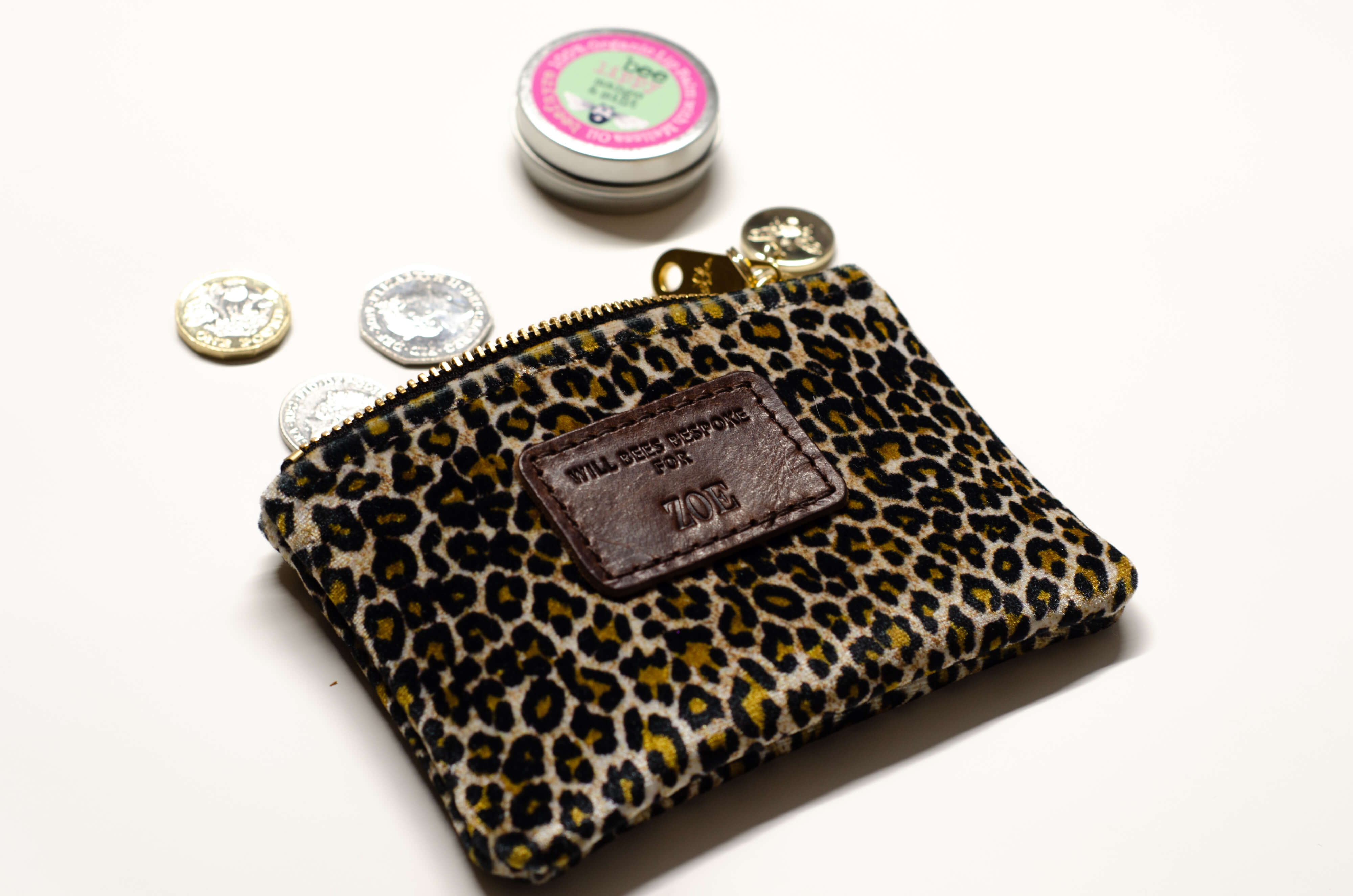 Jane Coin Purse - Dark Leopard Print Velvet - Will Bees Bespoke