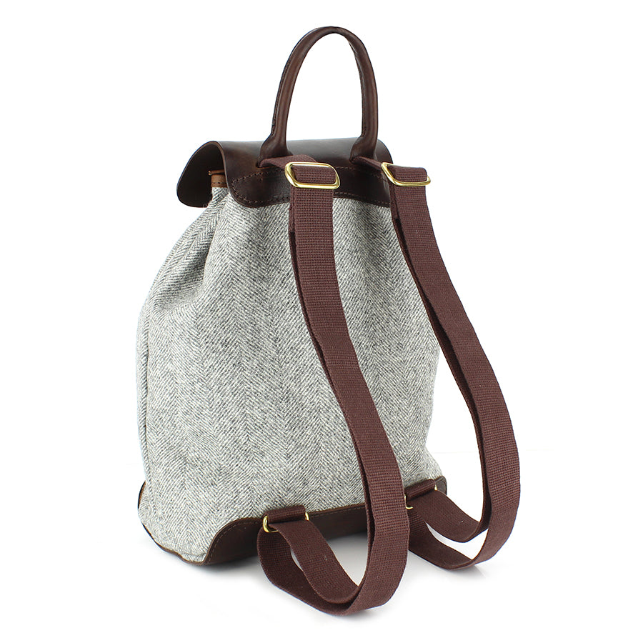 Gertie Backpack - Light Grey Large Herringbone Tweed - Will Bees Bespoke