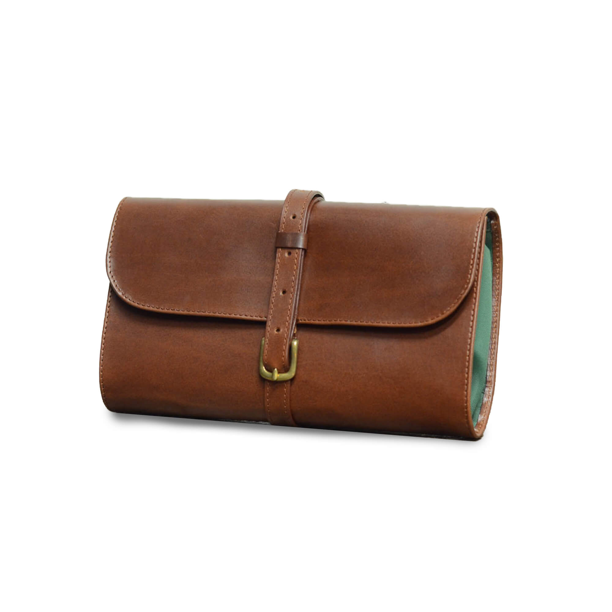 Military Leather Washkit in Brown