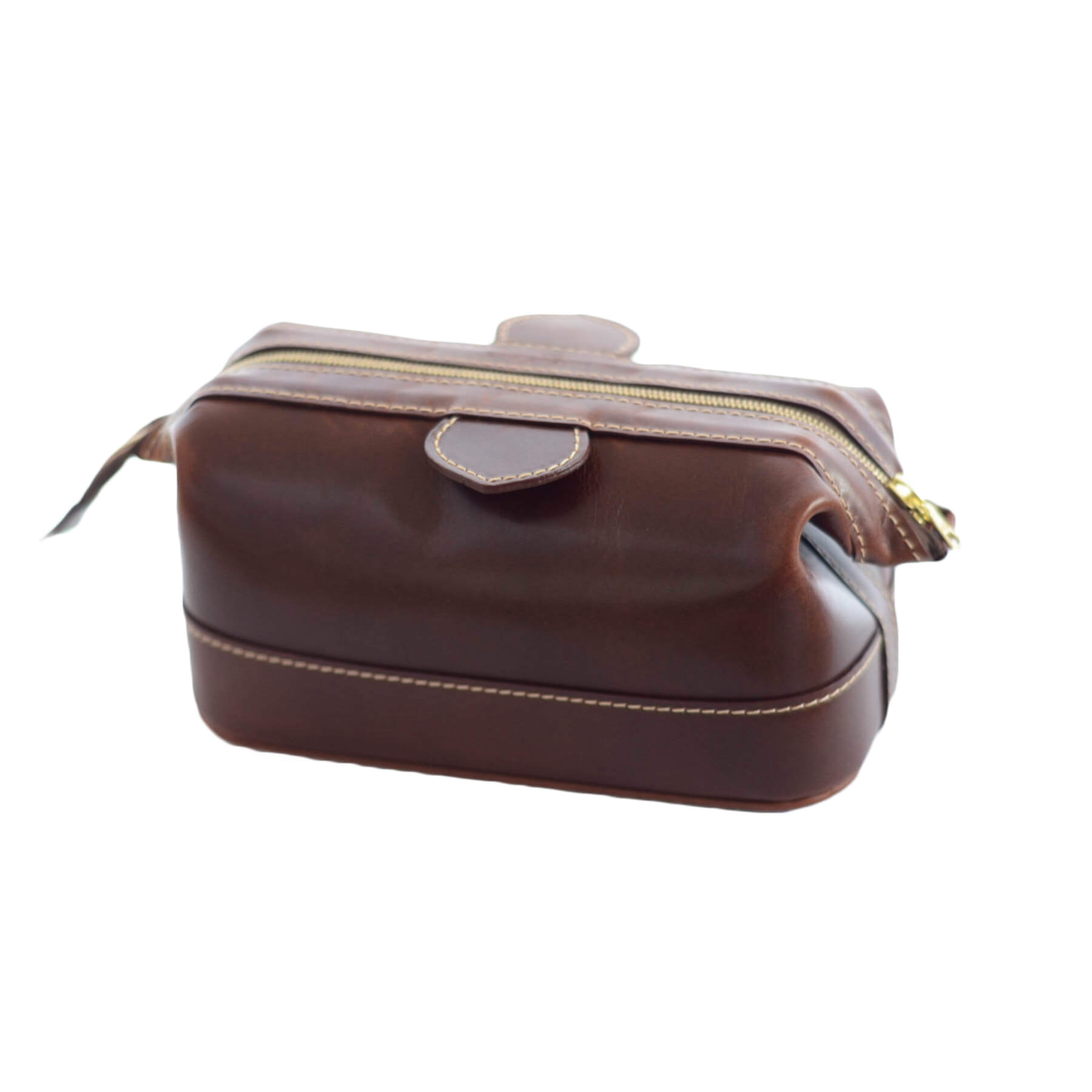 Small Leather Washbag in Brown - Will Bees Bespoke