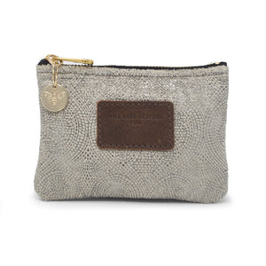 Jane Coin Purse - Silver Paisley Sparkle