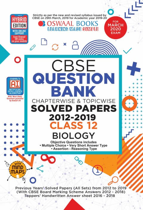Oswaal CBSE Question Bank Class 12 Biology Chapterwise & Topicwise