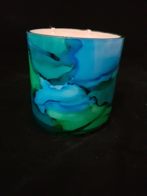Hand Painted Short Candle - Marine Colour
