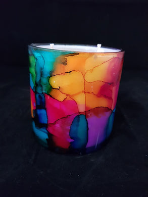 Hand Painted Short Candle - Multi Colour