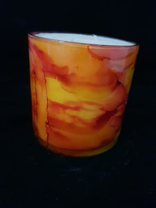 Hand Painted Short Candle - Sunrise Colour