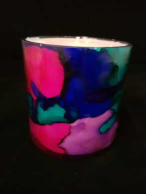 Hand Painted Short Candle - Sunset Colour