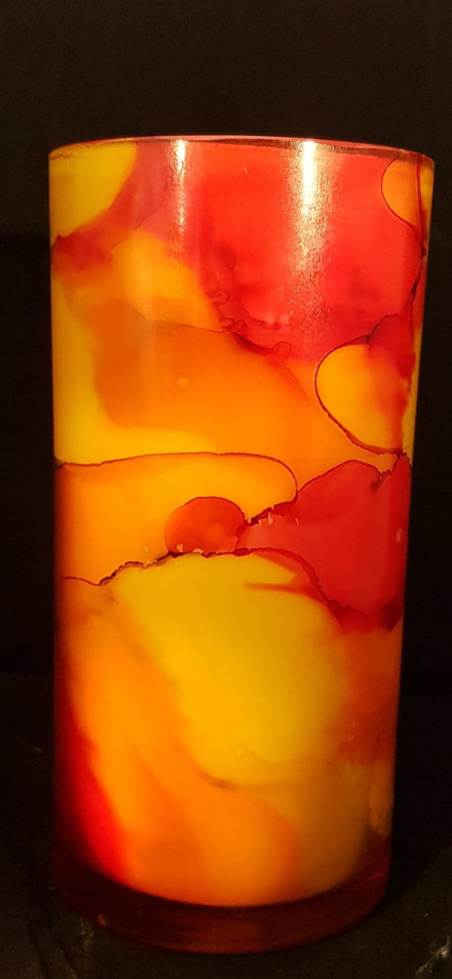 Hand Painted Tall Candle - Sunrise Colour