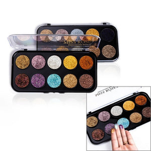 MISS ROSE 10 Colors Glitter Eyeshadow Palette