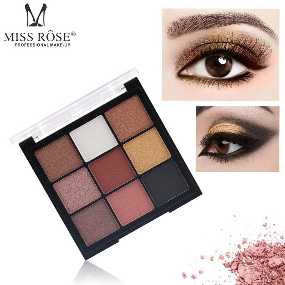 MISS ROSE 9 Color Glitter Matte Eyeshadow Palette