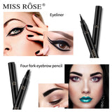 MISS ROSE Double Head 4 Fork Eyebrow Pencil 2 In 1 Black