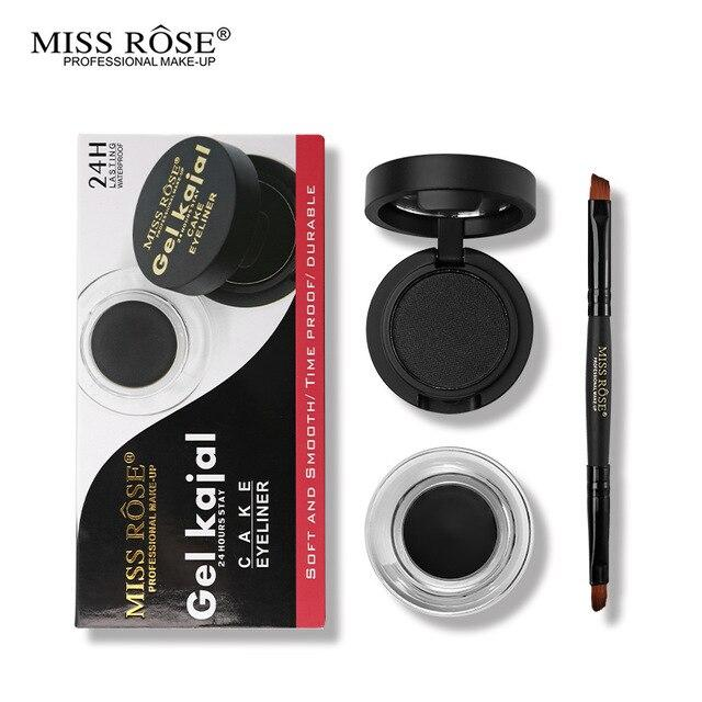 Miss Rose Eye Makeup Set Black Cake Eyeliner + Gel Kajal 24 Hours Stay Eye Liner Soft and Smooth