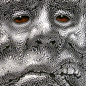 Fractal halftone CNC engraving surreal face