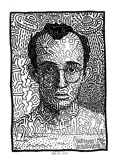"""Portrait of Keith Haring"" woodblock print on 32x40 inch Somerset Sateen paper, limited edited signed and numbered out of 15"