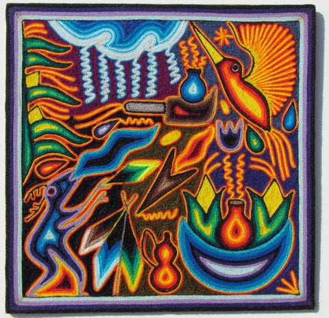 Tepehuano Yarn Painting (Hummingbird & Water God)