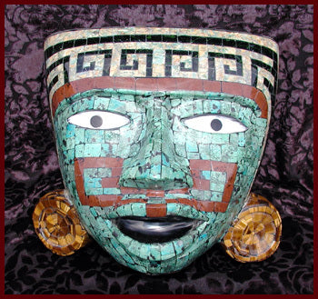 Turquoise Chrysacolla and Abalone Shell Mask