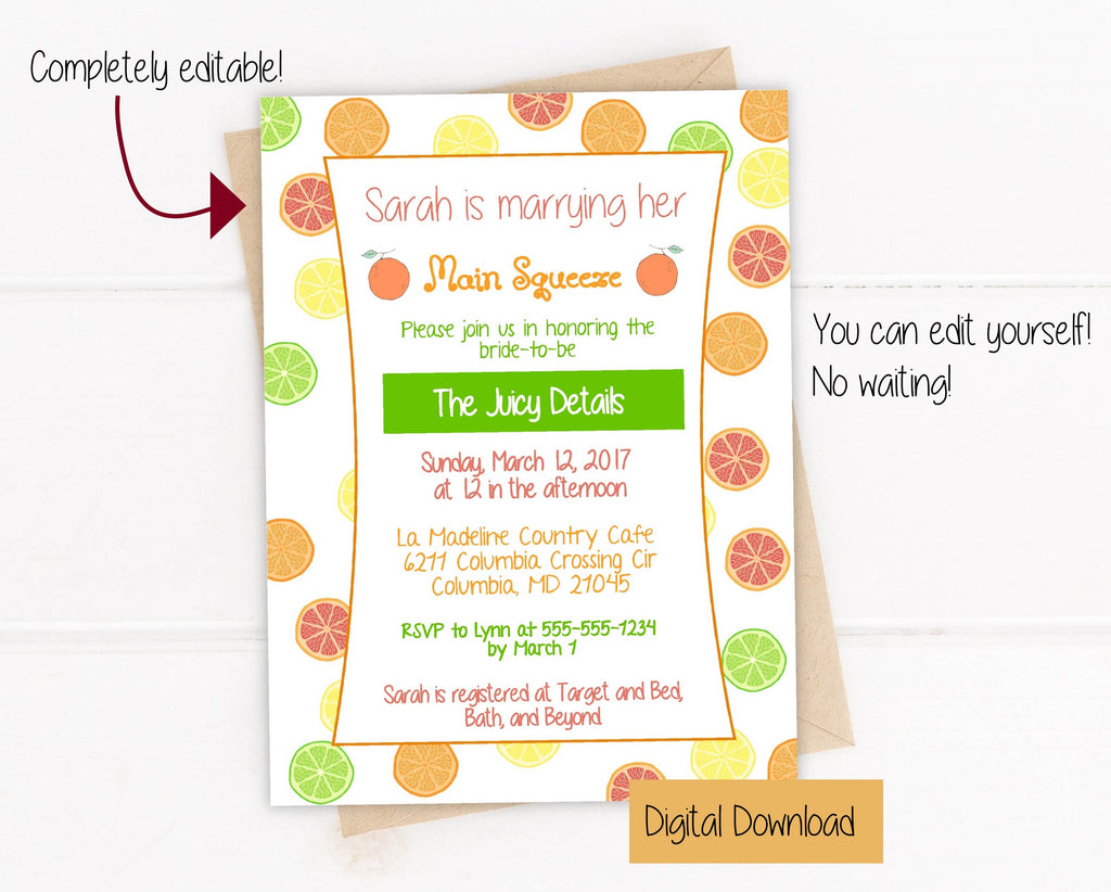 Citrus Fruit Invitation (DIGITAL DOWNLOAD)