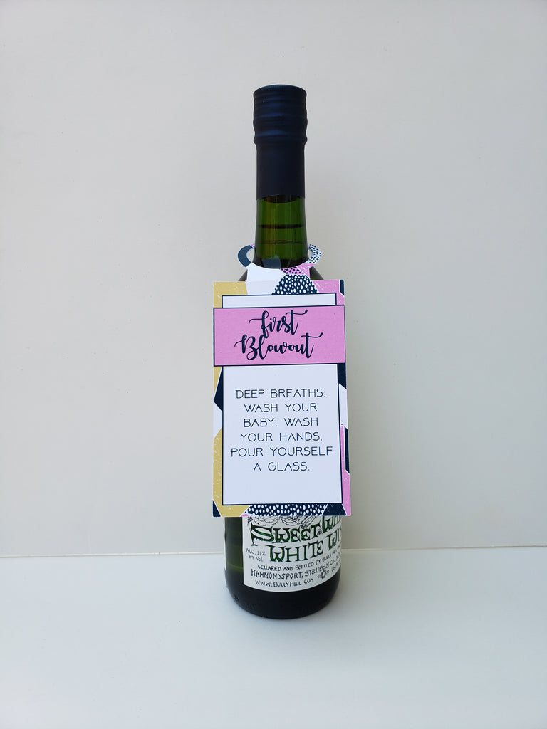 New Mom Wine Tag Set  (Pack of 6)- Geometric Design