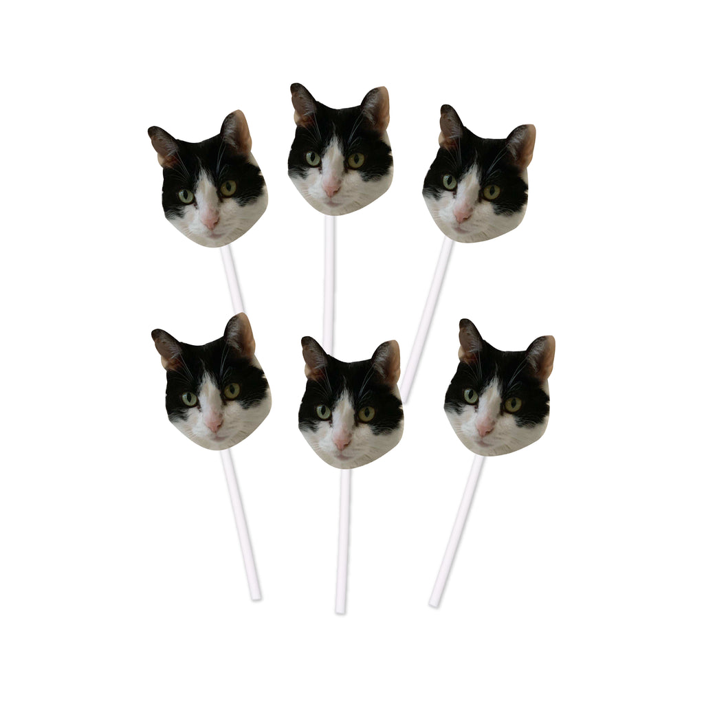 Cat Birthday Cupcake Toppers with Face